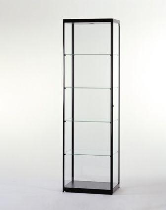 Aluminium Glass Display Cabinet 2000mm Tall X 600mm Square MPC 600 BLACK  Glass Display Cabinets,