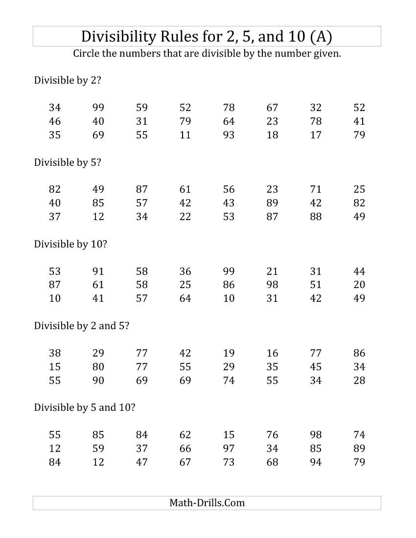 Worksheets Divisibility Rules Worksheets divisibility rules for 2 5 and 10 digit numbers a math worksheet freemath