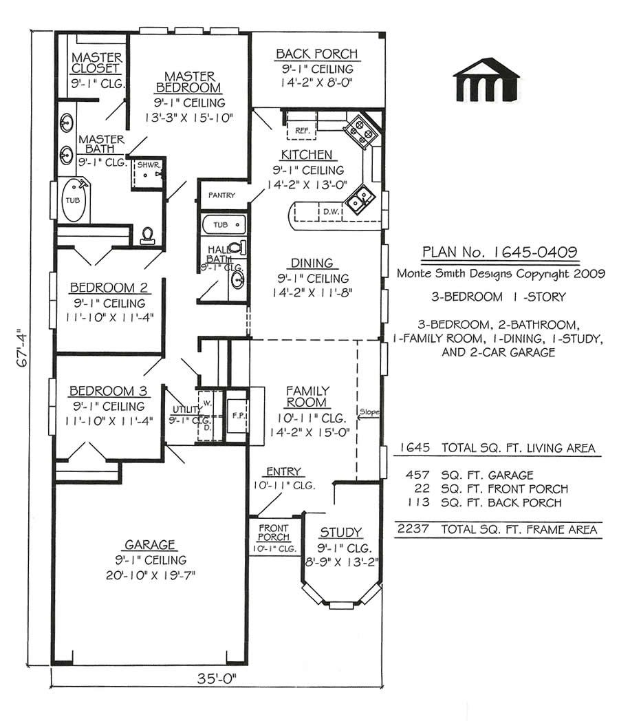 Narrow lot apartments 3 bedroom story 3 bedroom 2 for Lake house floor plans narrow lot