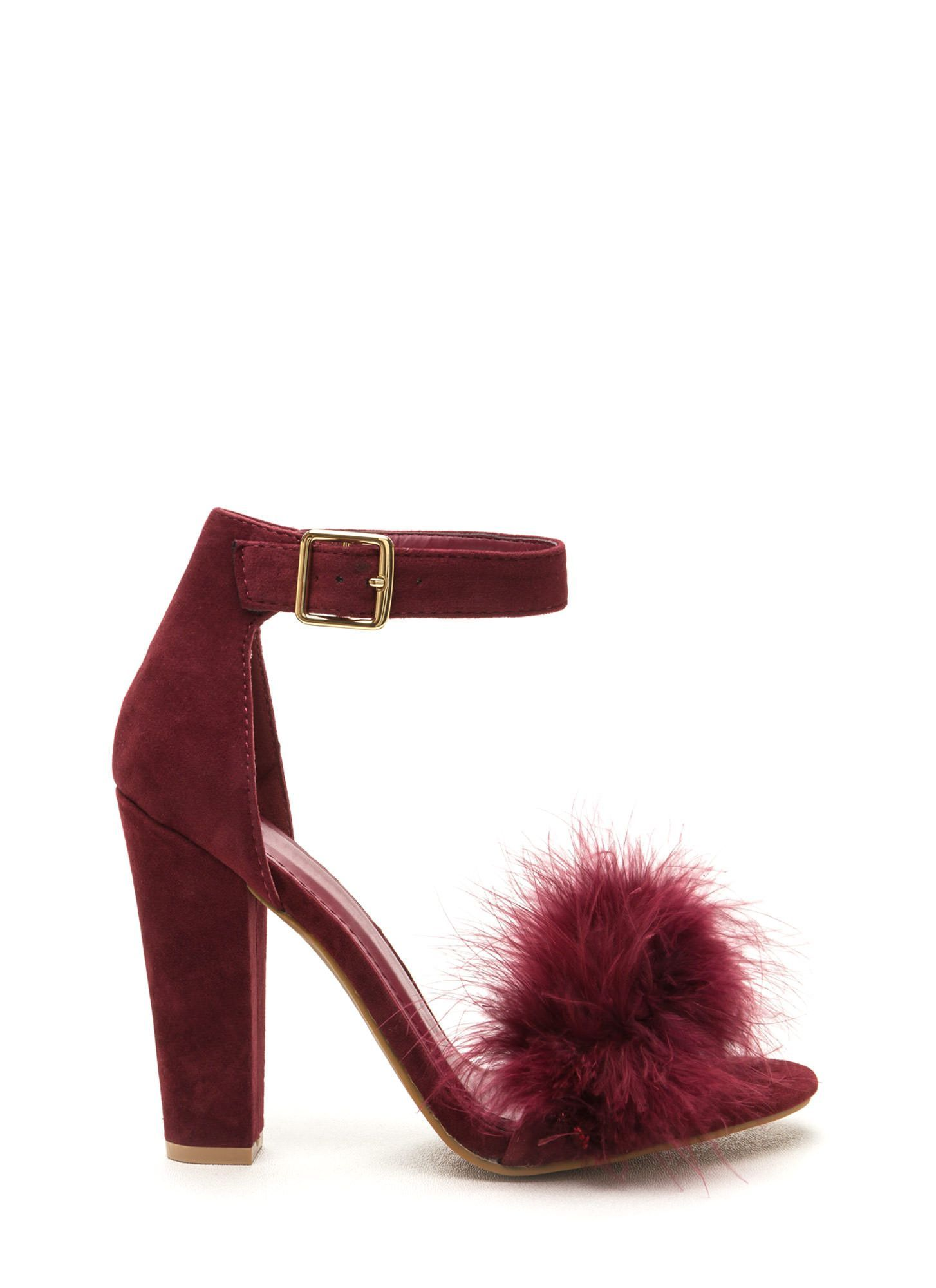 Fancy Feathers Burgundy Chunky Heels | SHOESIES!!! | Pinterest ...