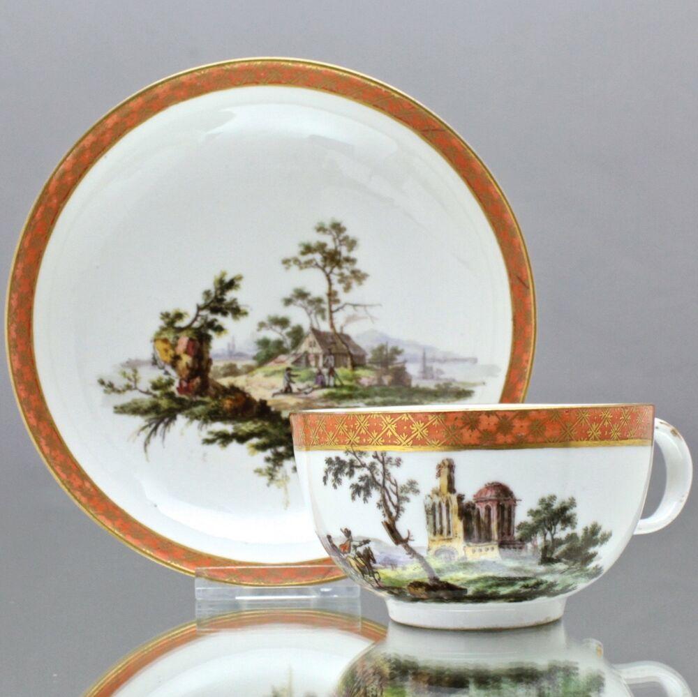 Meissen Um 1780 Tasse Mit Ruinen Und Landschaft Reiter Teetasse Marcolini Cup マイセン