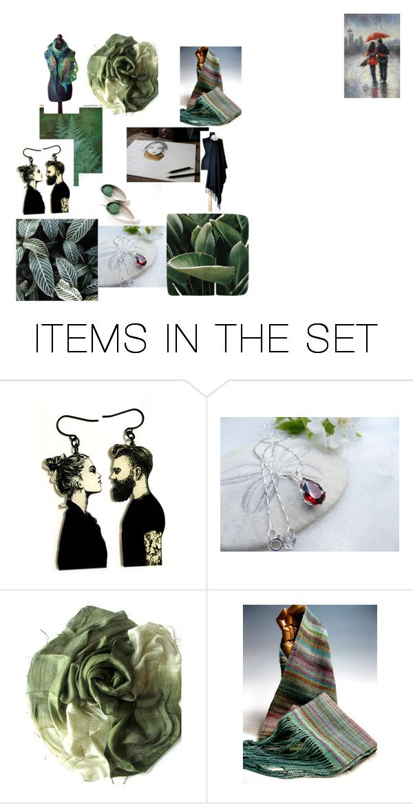 """GREEN SHADES"" by anna-recycle ❤ liked on Polyvore featuring art"