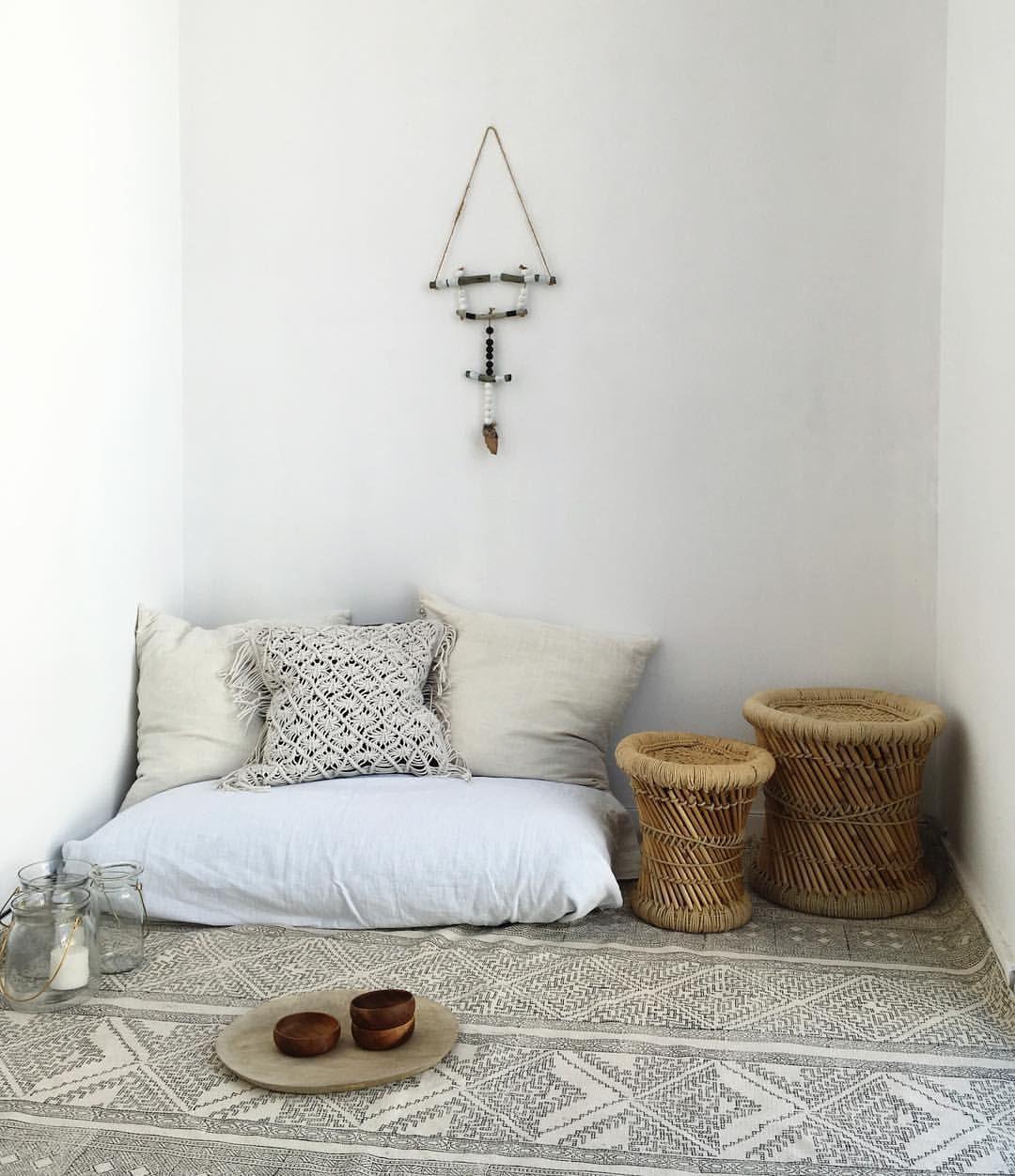 My Little Boho Corner At Home We All Need Some Bohemian Corner In Our Life Bohostyle Minteriordesigner Mi Floor Pillows Boho Floor Pillows Floor Cushions