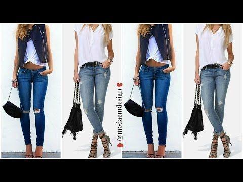 9c45221adf MODA 2016 Outfits Con Pantalones de Mezclilla ♥ emdesign - YouTube ...