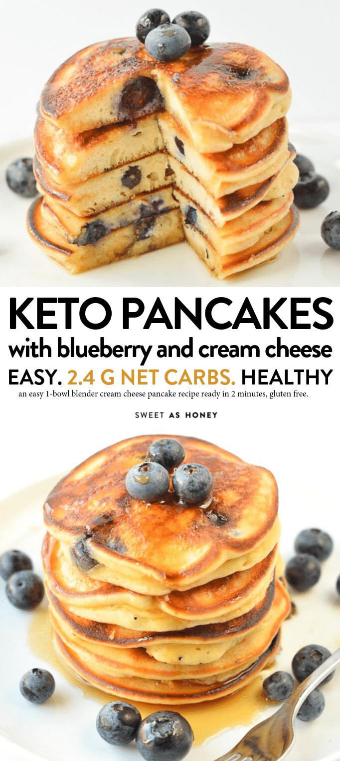 Keto blueberry pancakes cream cheese pancakes - Sweetashoney