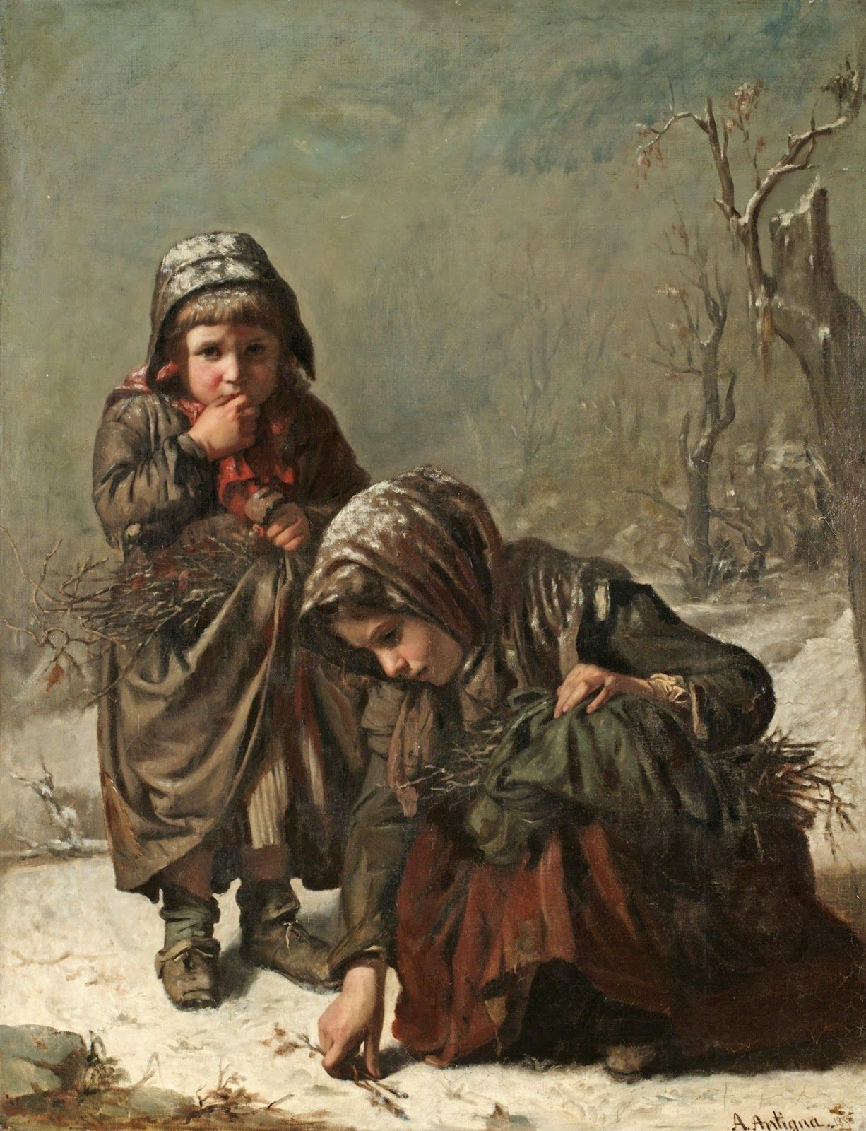 gathering sticks 1850 peinture