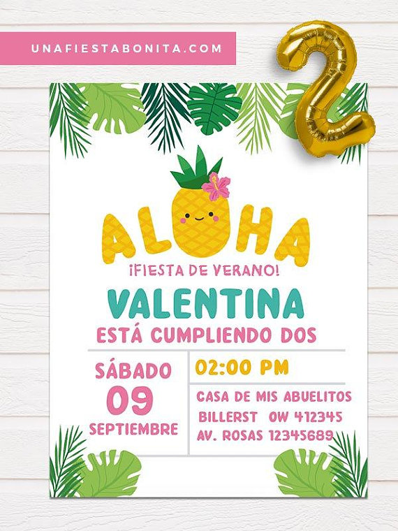 tropical themed aloha invitation for birthday pineapple summer