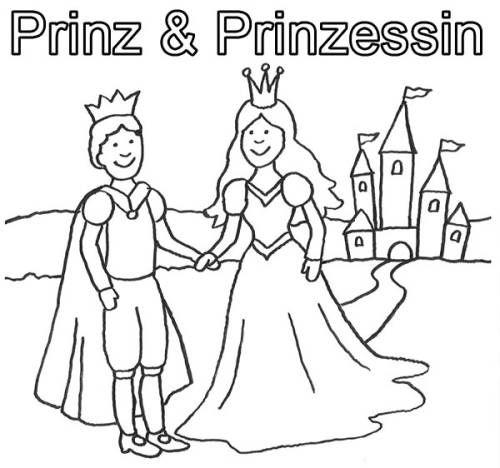 Prinzessin Prinz Und Prinzessin Mit Schloß Zum Ausmalen