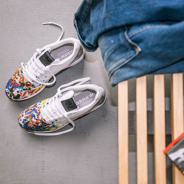 Make a splash. The +adidas Originals #ZXFLUX with paint splatter print