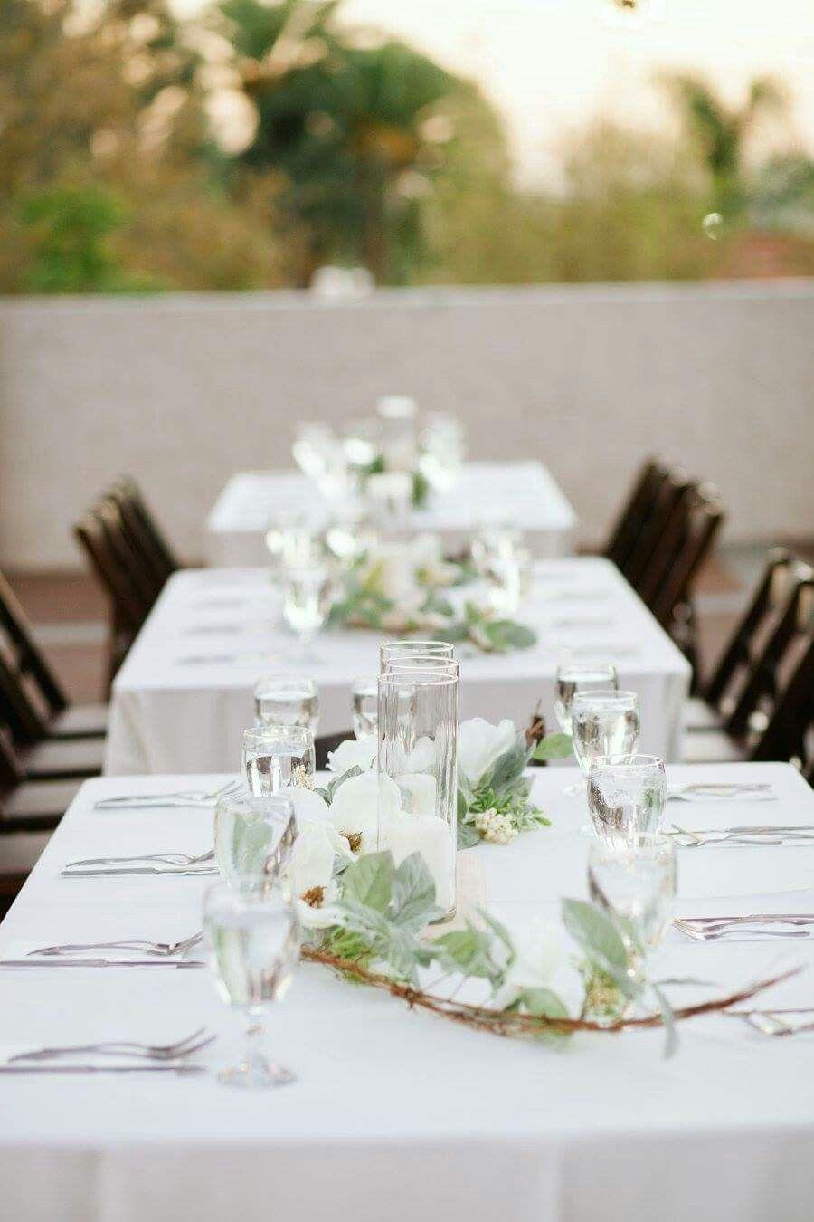 Banquet table decor, outdoor fall evening wedding reception Magnolia ...