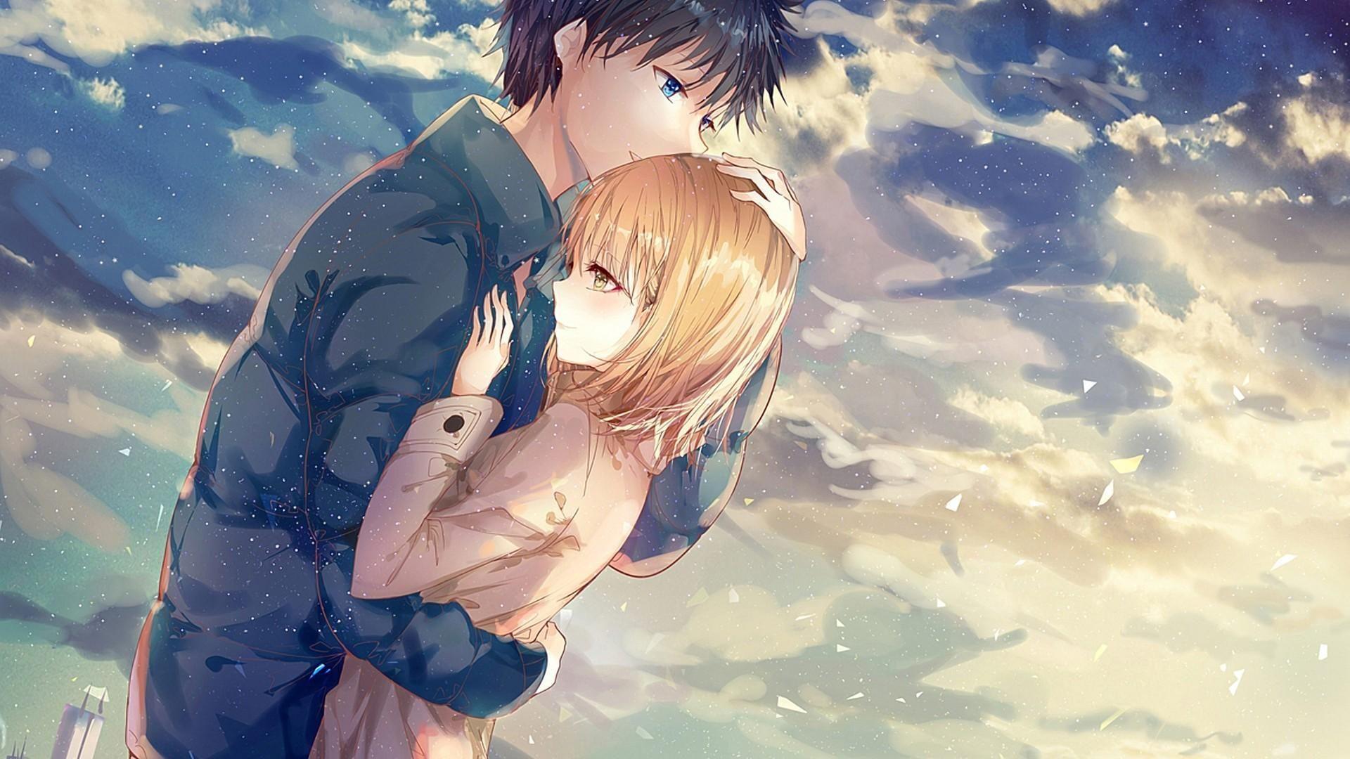 Anime Couple Wallpaper Download Anime Couple Hug Romance Clouds 341307 Tekenen