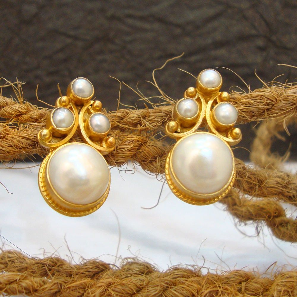 Wedding Gift Natural Real Pearl Yellow Gold Plated 925