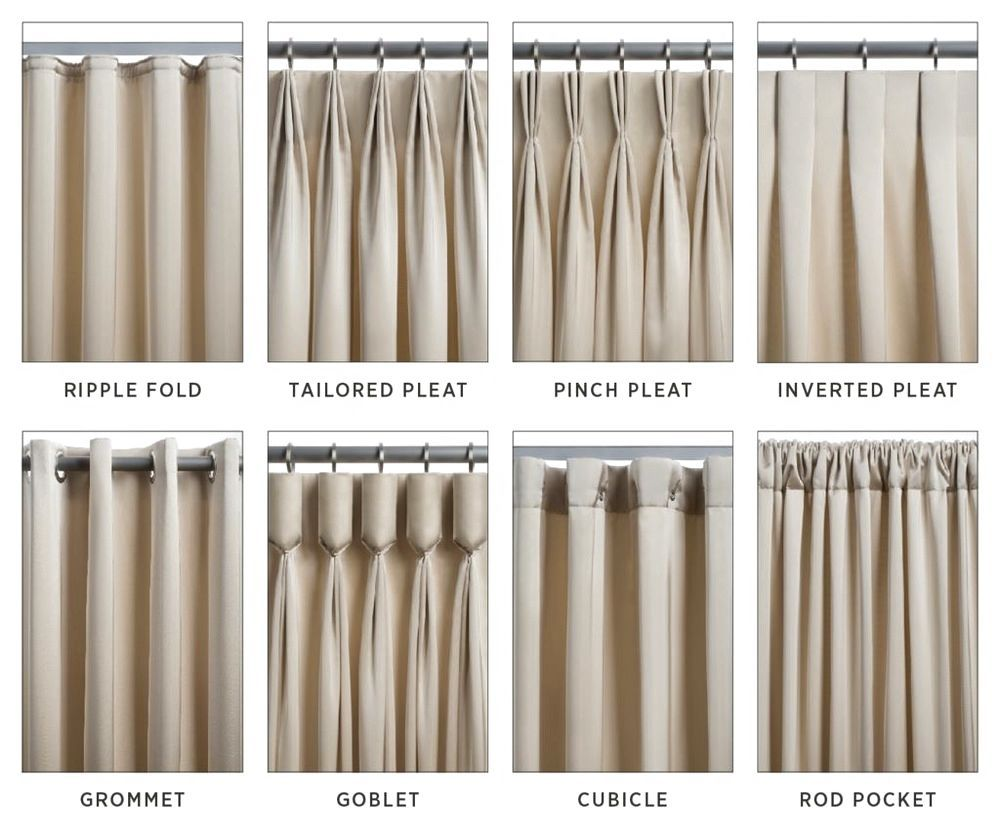 Very helpful image for picking which type of pleat is your for Different styles of drapes
