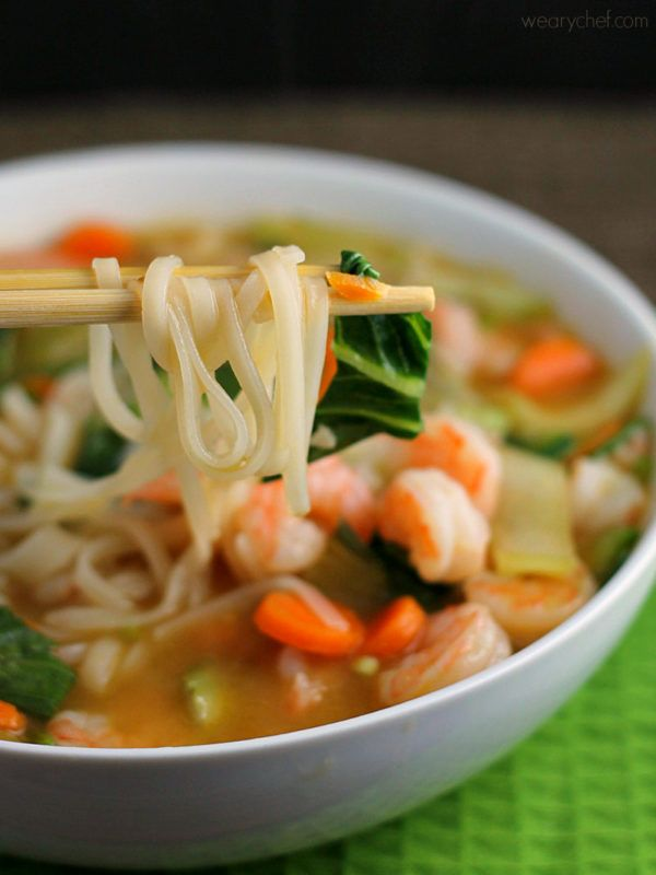 Try this easy asian rice noodle soup with shrimp wearychef try this easy asian rice noodle soup with shrimp wearychef forumfinder Images