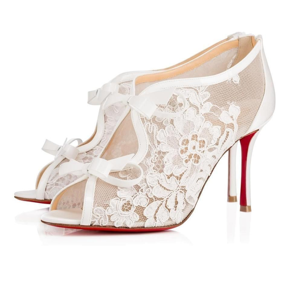 Christian Louboutin White Classic Empira 85mm Lace Leather Bow