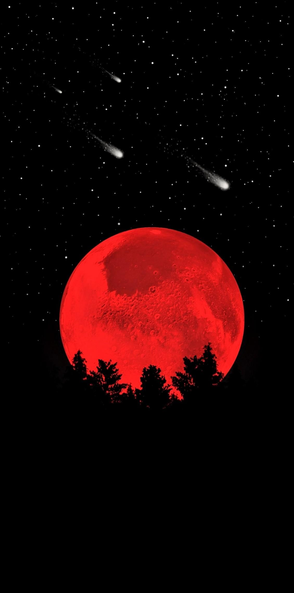 Red Sky Moon Light Celestial Event Darkness In 2020 Dark Wallpaper Cool Wallpaper Best Wallpaper For Mobile