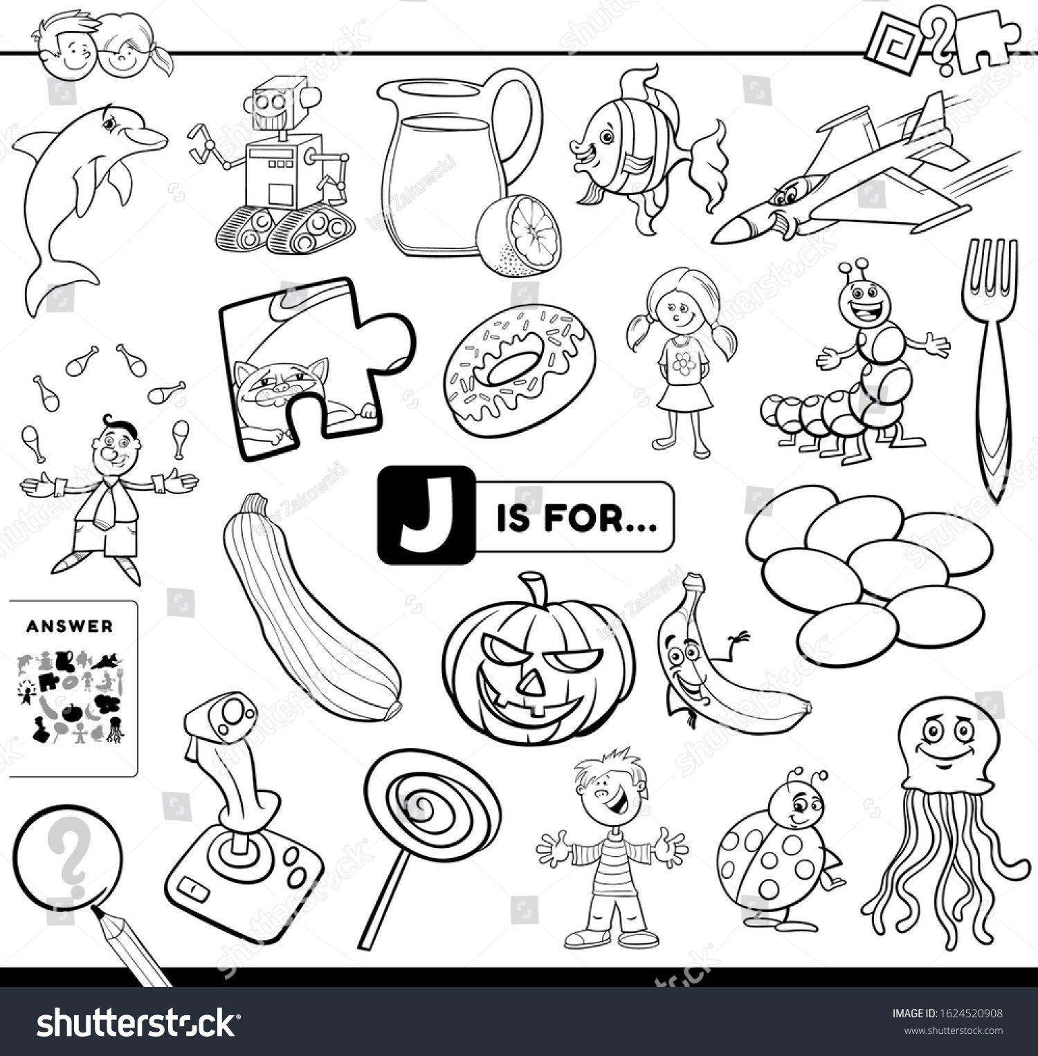 Black And White Cartoon Illustration Of Finding Picture