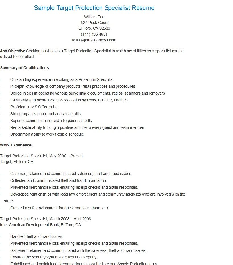 Sample Target Protection Specialist Resume