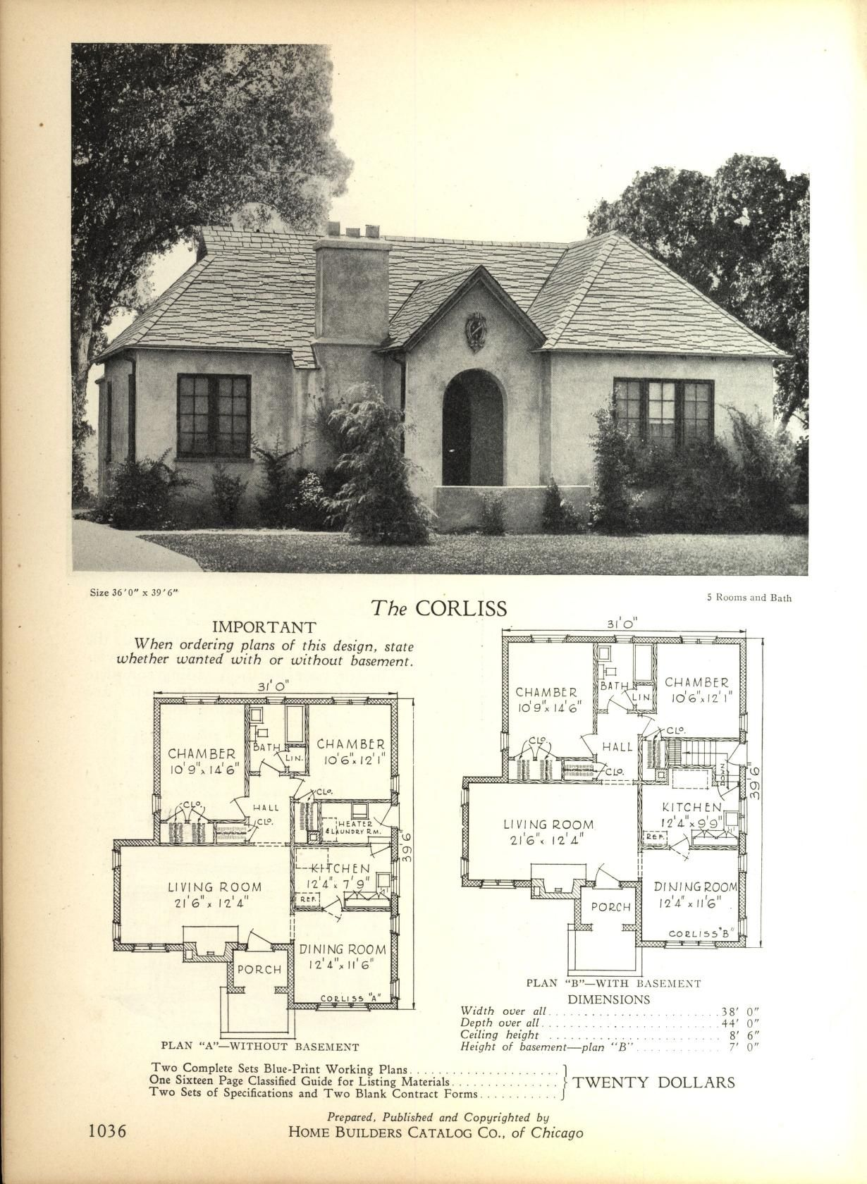 The CORLISS   Home Builders Catalog  plans of all types of small     The CORLISS   Home Builders Catalog  plans of all types of small homes by Home  Builders Catalog Co  Published 1928