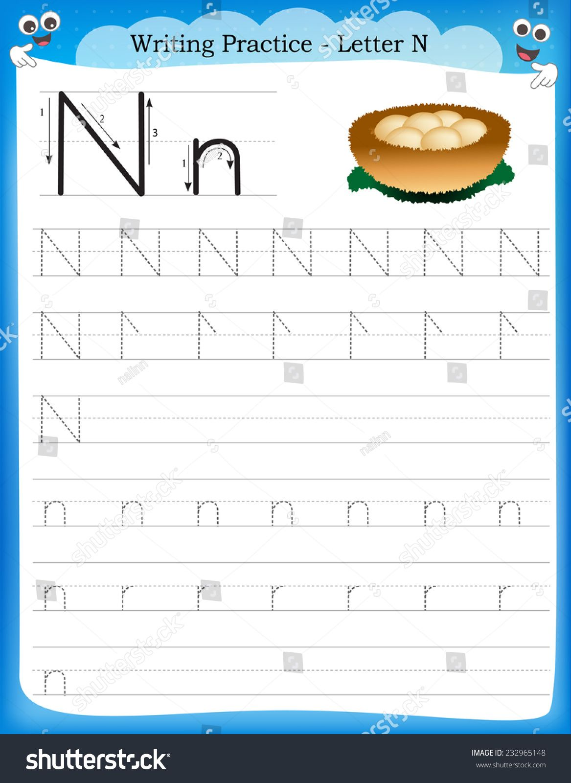 Writing Practice Letter N Printable Worksheet With Clip