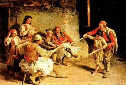The fencing lesson. Paja Jovanovic (1859-1957) Serbian painter.
