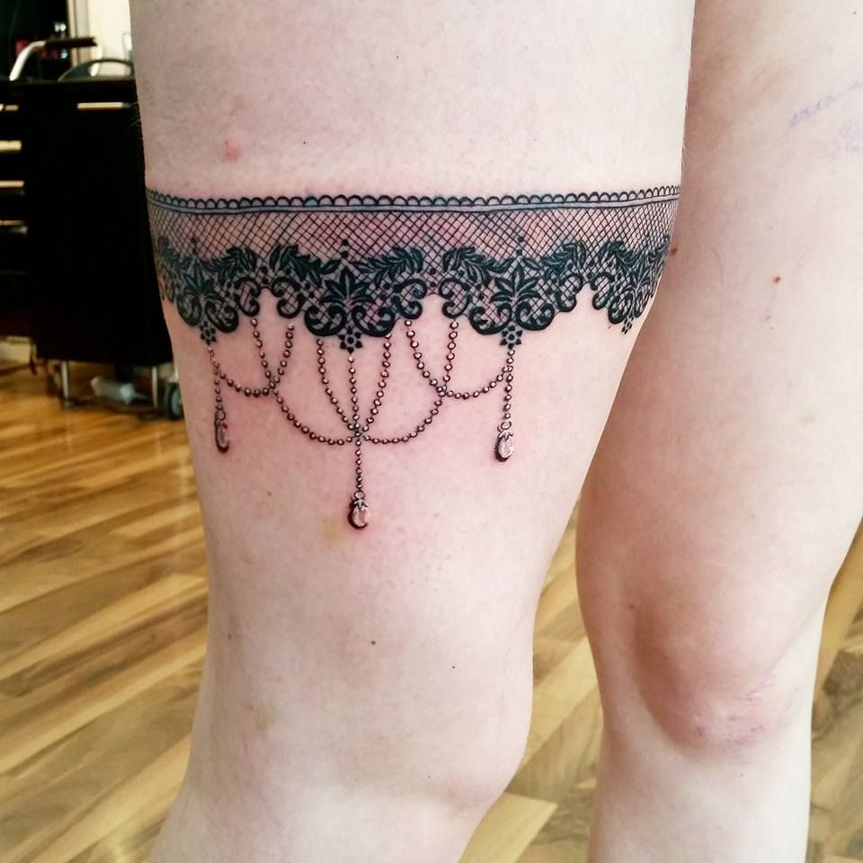 Pin By Tattoomaze On Lace Garter Tattoo Designs