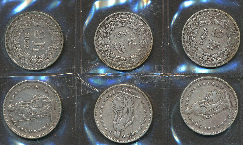 3 Münzen 2 Schweizer Franken 1920 22 Mit Schöner Patina Silber 2506