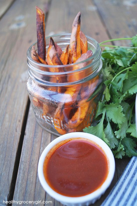 Sweet Potato Fries with Tangy BBQ Sauce Dip recipe (serves 2)