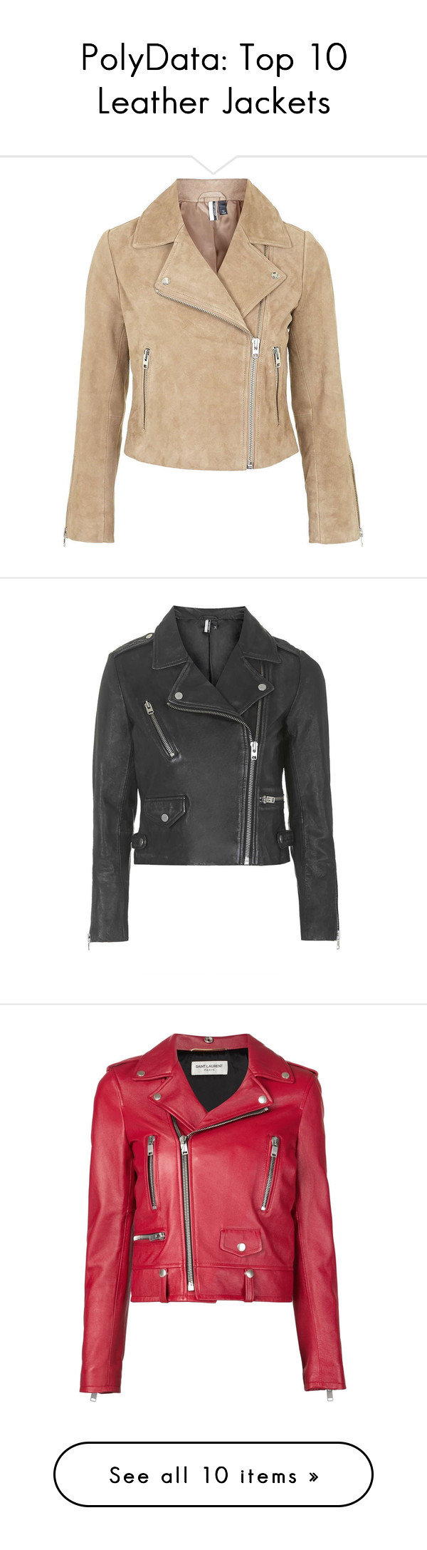 """""""PolyData: Top 10 Leather Jackets"""" by polyvore-editorial ❤ liked on Polyvore featuring leatherjackets, polydata, outerwear, jackets, coats & jackets, topshop, chaquetas, tan, suede moto jacket and suede biker jacket"""