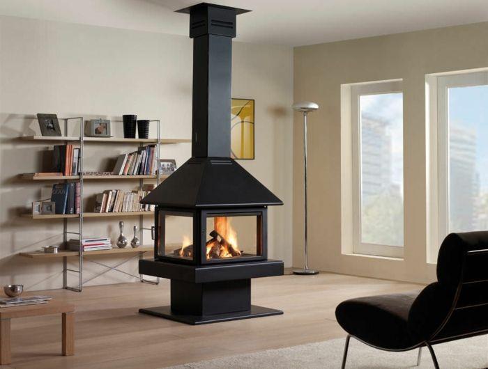 Chemin e centrale foyer ferm ou chemin e traditionnelle chemin e centrale pinterest - Deco cheminee interieur ...