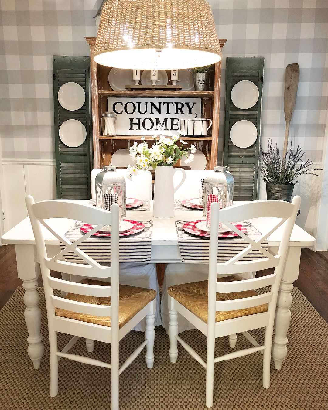 Gingham Farmhouse Plaid Peel And Stick Wallpaper In A Dining Room Makeover Dining Room Makeover Peel And Stick Wallpaper Wallpaper