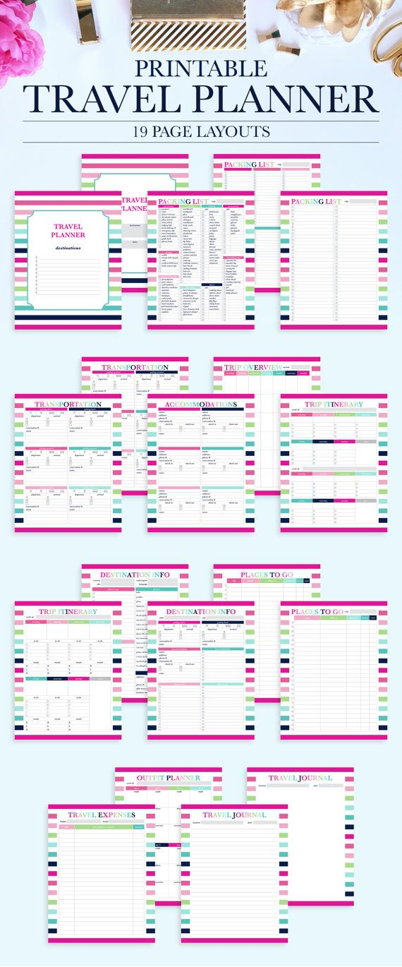 Printable Travel Planner Vacation Planner Kit Trip Planner Etsy Travel Planner Travel Itinerary Template Vacation Planner