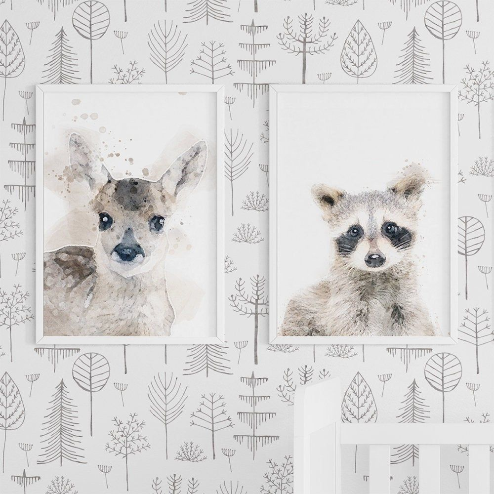 Gender Neutral Watercolor Woodland Trees Wallpaper Feature Wall Peel And Stick Wallpaper Removable Wall Paper Forest Nursery Wallpaper Nursery Wallpaper Tree Wallpaper Baby Animal Art