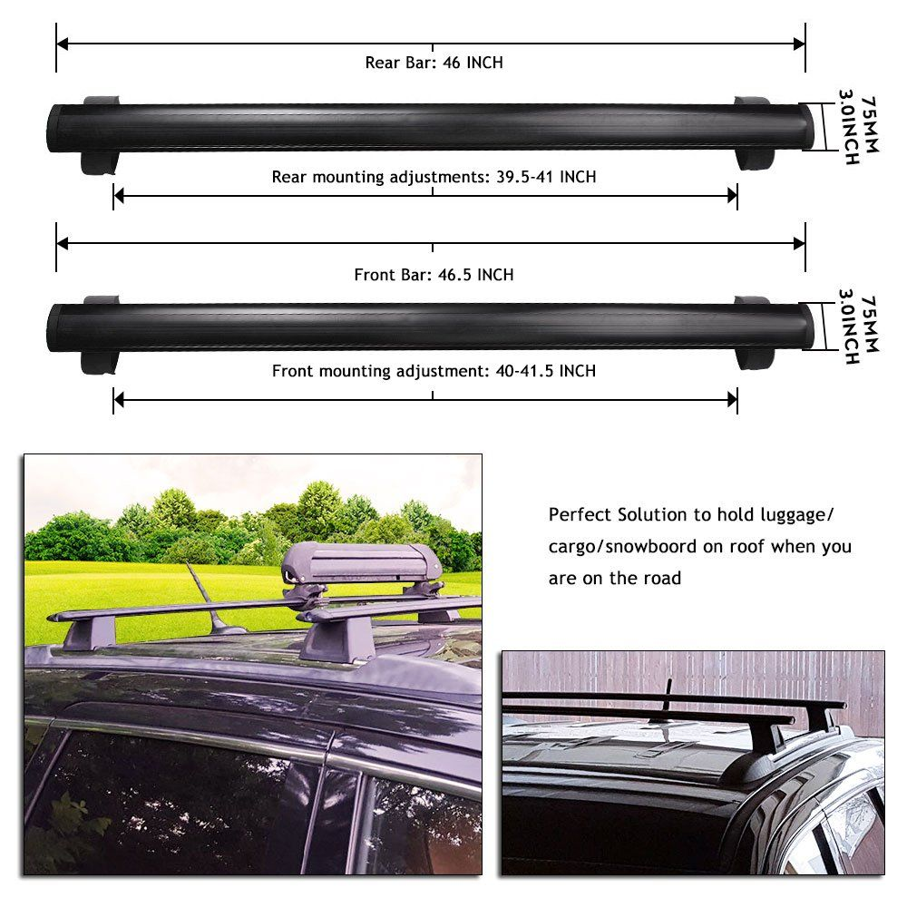 Canoe Rack Yitamotor Front And Rear Roof Rack Cross Bars Set