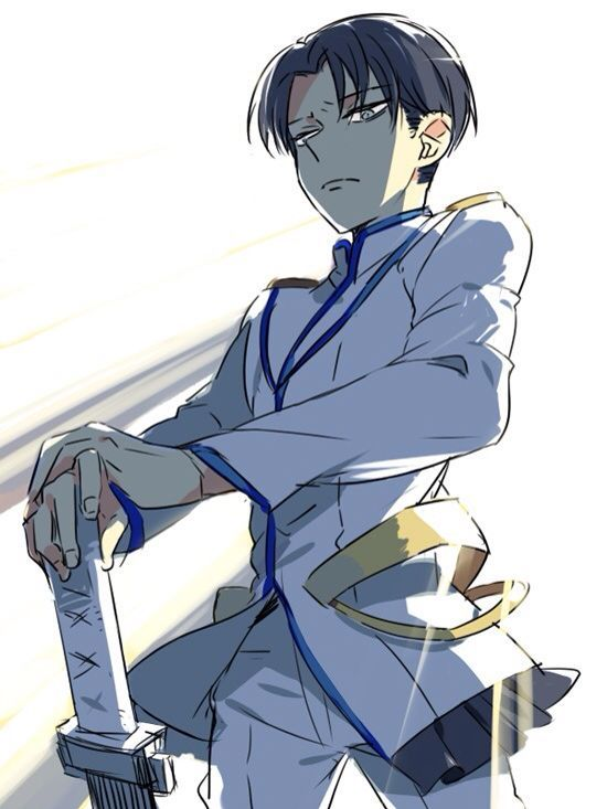 """Fan art of the character Levi (リヴァイ) from """"Shingeki no Kyojin (進撃の巨人)"""" as Satsuki Kiryuin (鬼龍院 皐月) from the anime Kill la Kill (キルラキル) 