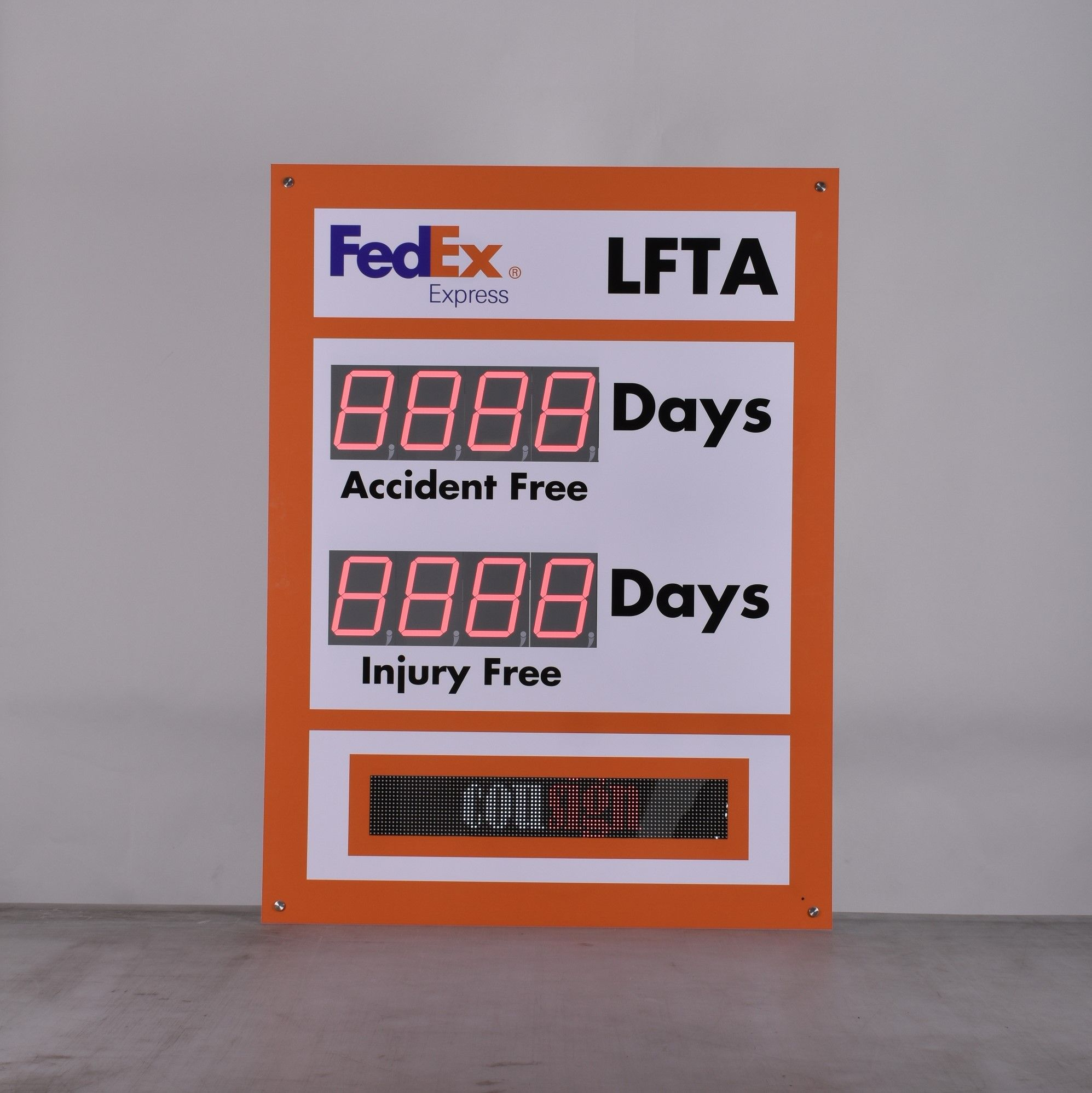 Scrolling Message Electronic Safety Scoreboard with Two