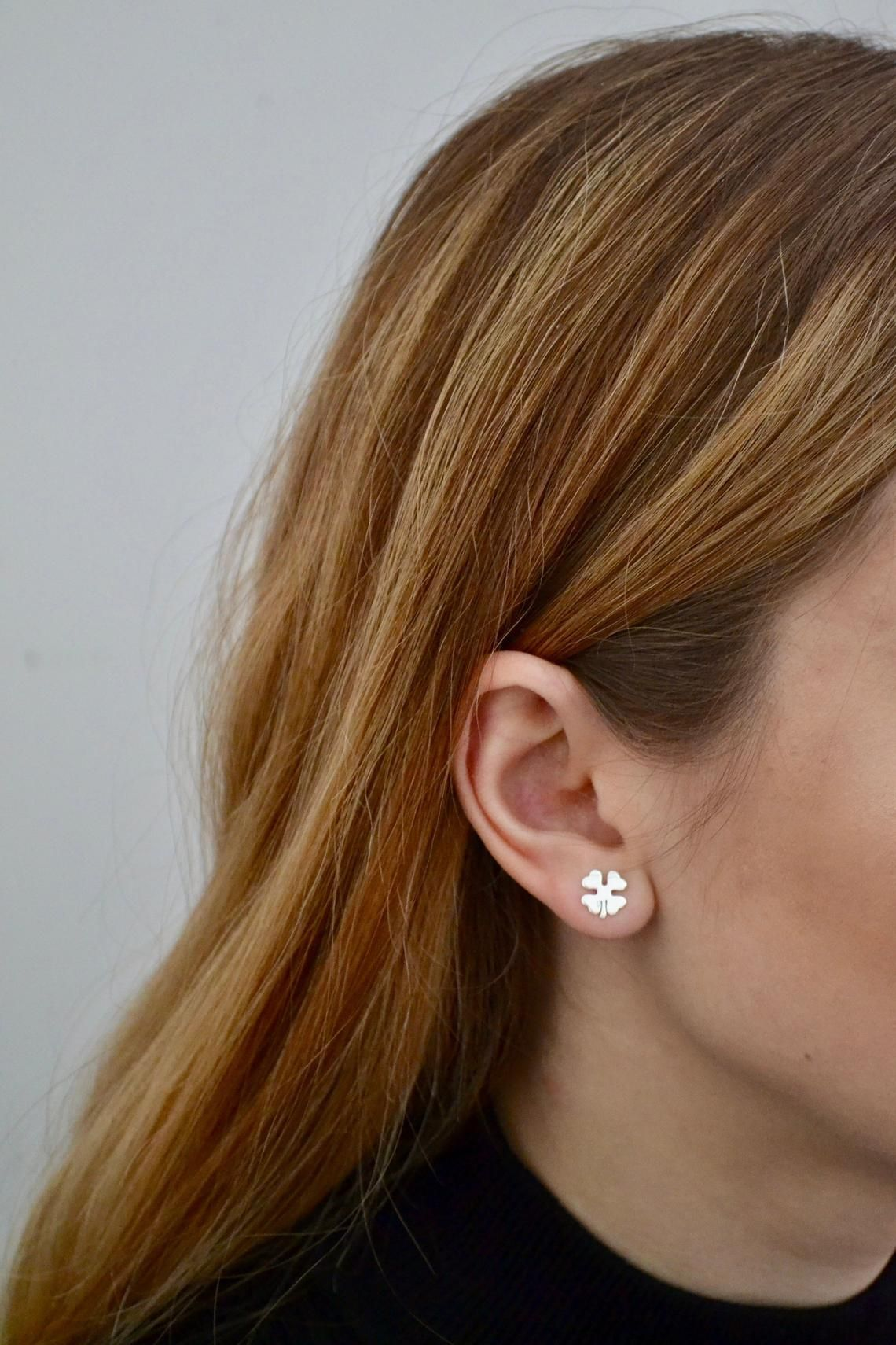 Small Minimalist Silver Leaf Stud Earrings