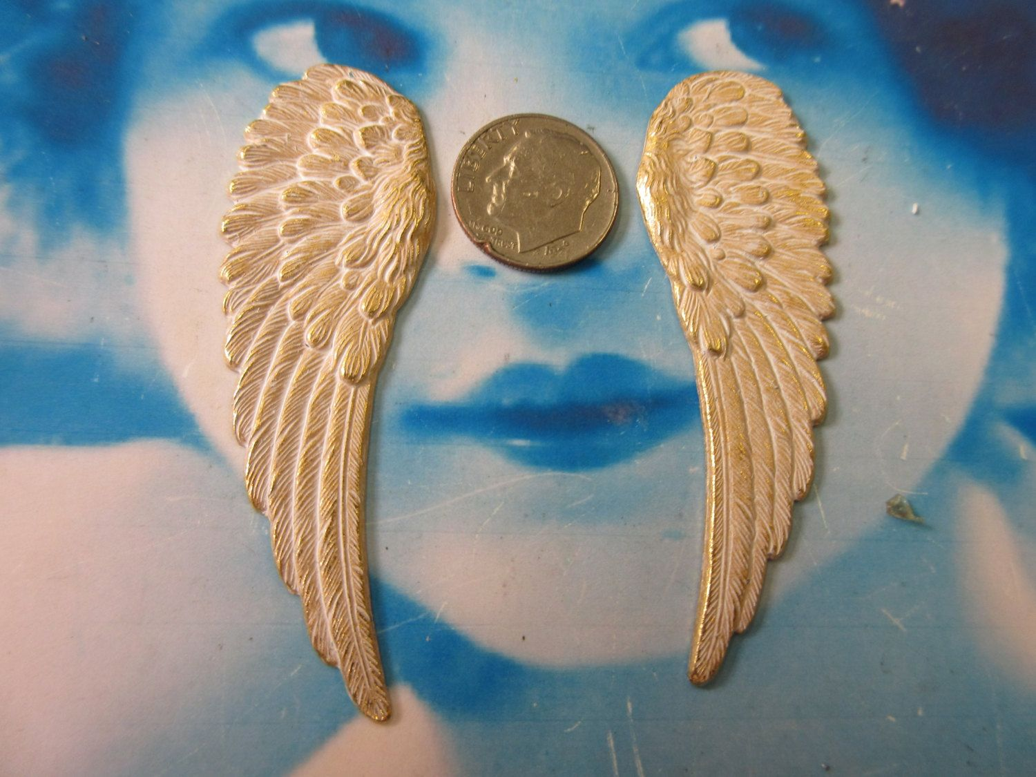 Gold Plated Large Brass Wing Stampings With a White Wash Patina  366WHT x2 by dimestoreemporium on Etsy