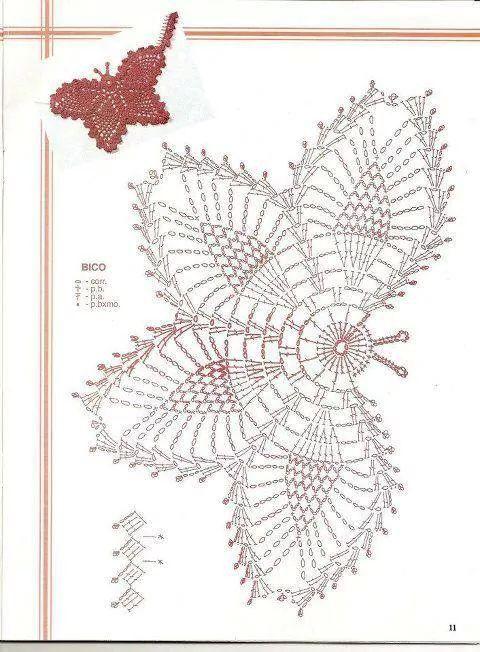 Motivo mariposa crochet patron | mariposas | Pinterest | Crochet ...