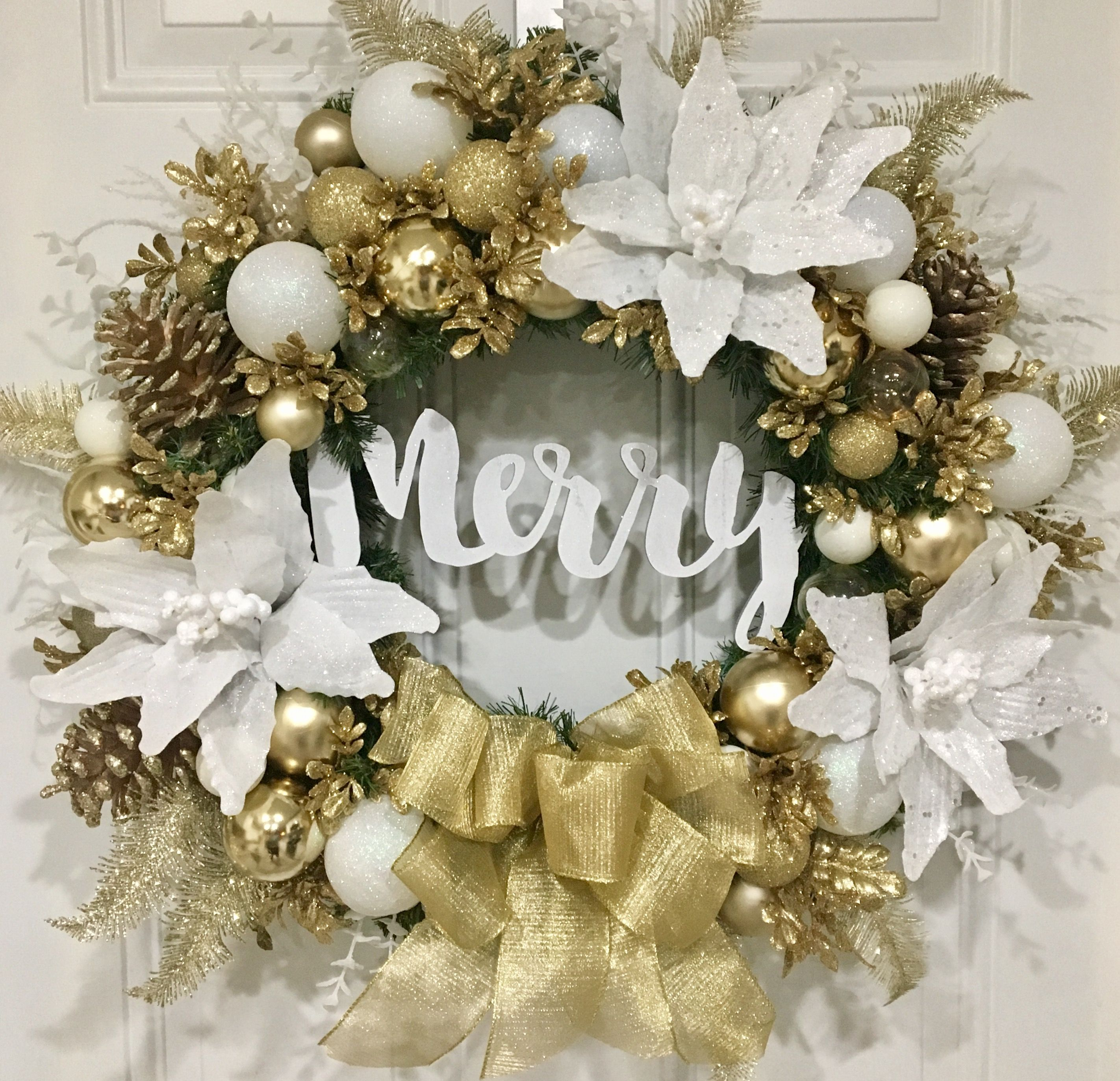 Christmas Wreath Holiday Wreath Merry White And Gold Wreath Front Door Christmas Decorations Christmas Wreaths Gold Christmas Decorations
