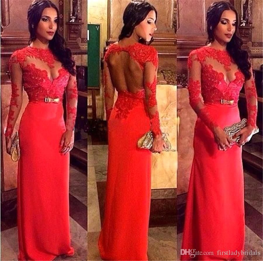 African prom dresses red backless lace appliques high neck long