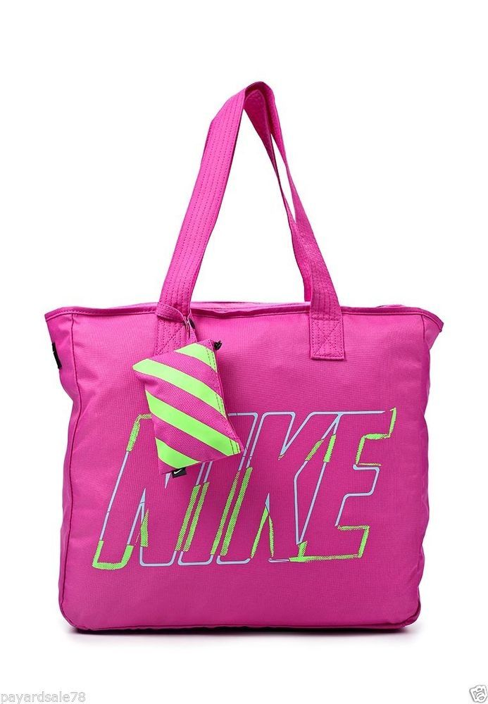 Nike pink track tote black travel shopping bag purse gym sports ...