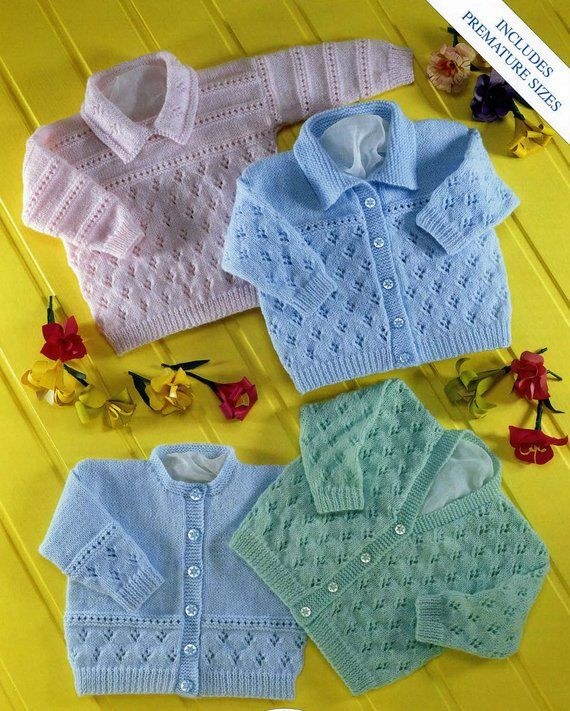 0979f11c81cd Knit V neck and Round neck Cardigan Vintage Pattern Newborn to 2 ...