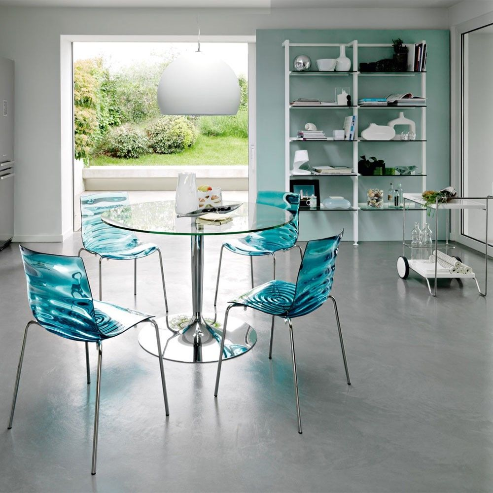 Awesome Round Glass Kitchen Dining Table With Single Chrome Metal ...
