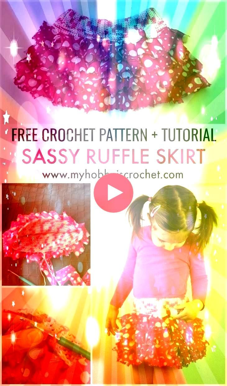 ruffle skirt with elasticized waistband is made with Red Heart Boutique Sassy Fabric yarn crocheting the ruffles and the inner skirt l  Häkeln This adorable ruffle s...