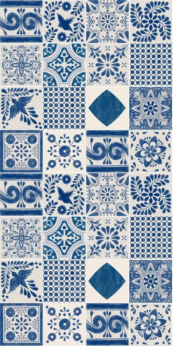 Wallpaper Removable Mexican Indigo Stick Vinyl Blue Peel Glue Mess Mix In Nomexican Mix Wallpaper In In Vinyl Wallpaper Pattern Wallpaper Tile Art