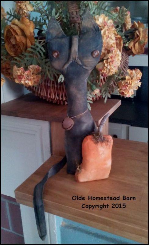 Primitive Cat with Pumpkin Tom  EPATTERN
