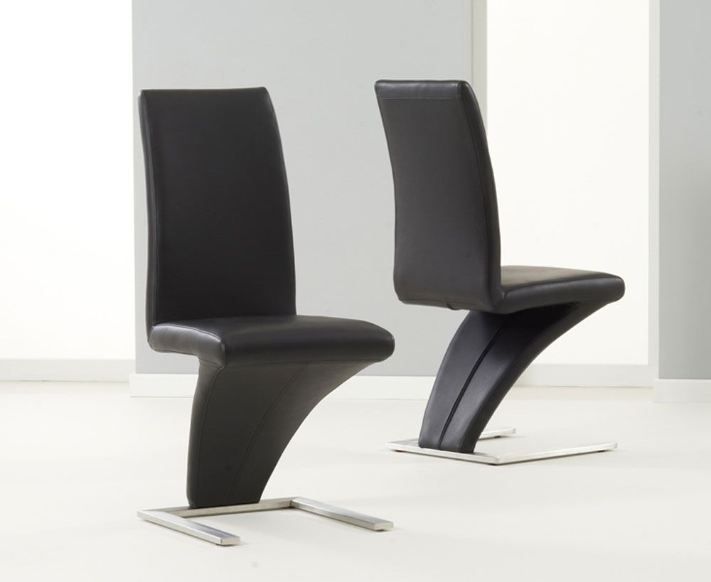 Interesting Modern Ornella Black And Chrome Dining Chairs With