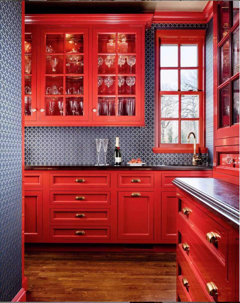 25 Stunning Butler S Pantries Sophisticated Style In 2020 Butler Pantry Decor Pantry Decor Red Kitchen Cabinets