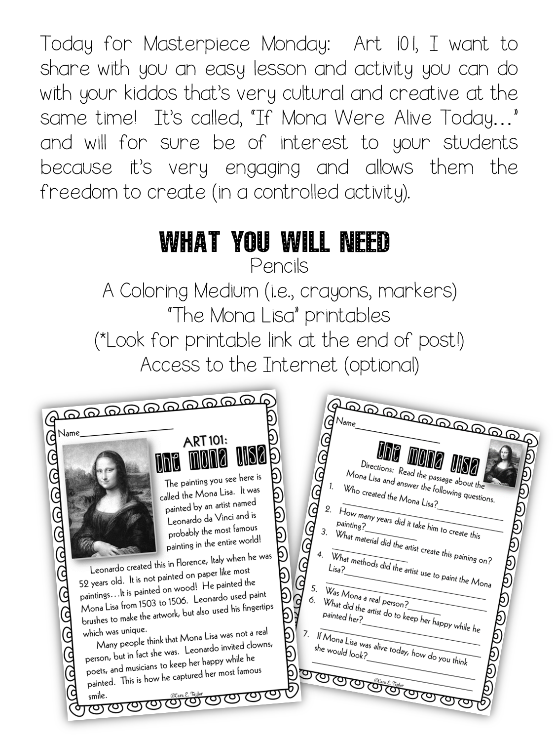 worksheet Is It Alive Worksheet masterpiece monday art 101 if mona lisa were alive today and creative playground today